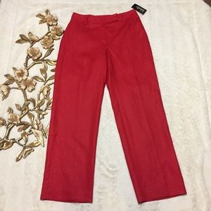 NWT Rafaella Red Career Straight Leg Pants Size 8